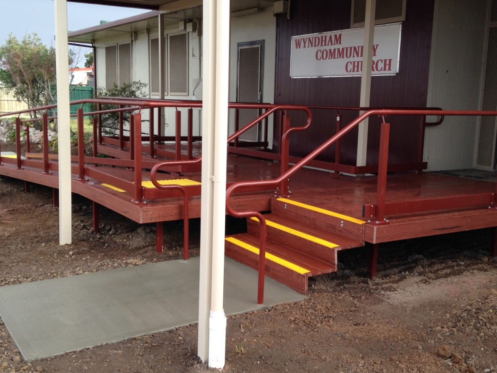 Combined gradual incline Nexus Series ramp with steps - Australian Ramp and Access Solutions